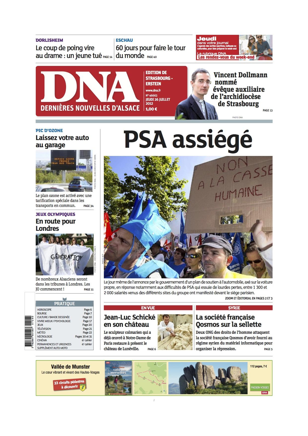 En couverture des DNA (Dernières Nouvelles d'Alsace) : 521 000 ...