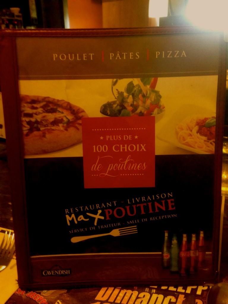 La carte du restaurant MaxPoutine